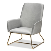 Baxton Studio Sennet Glam and Luxe Grey Velvet Fabric Upholstered Gold Finished Armchair Baxton Studio restaurant furniture, hotel furniture, commercial furniture, wholesale living room furniture, wholesale accent chair, classic accent chair