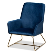 Baxton Studio Sennet Glam and Luxe Navy Blue Velvet Fabric Upholstered Gold Finished Armchair Baxton Studio restaurant furniture, hotel furniture, commercial furniture, wholesale living room furniture, wholesale accent chair, classic accent chair