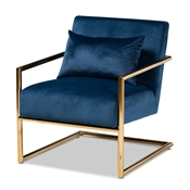 Baxton Studio Mira Glam and Luxe Navy Blue Velvet Fabric Upholstered Gold Finished Metal Lounge Chair Baxton Studio restaurant furniture, hotel furniture, commercial furniture, wholesale living room furniture, wholesale accent chair, classic accent chair