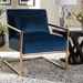 Baxton Studio Mira Glam and Luxe Navy Blue Velvet Fabric Upholstered Gold Finished Metal Lounge Chair - TSF-60458-Navy Velvet/Gold-CC