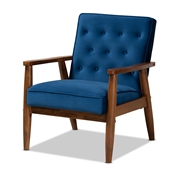 Baxton Studio Sorrento Mid-century Modern Navy Blue Velvet Fabric Upholstered Walnut Finished Wooden Lounge Chair Baxton Studio restaurant furniture, hotel furniture, commercial furniture, wholesale living room furniture, wholesale accent chair, classic accent chair