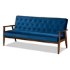 Baxton Studio Sorrento Mid-century Modern Navy Blue Velvet Fabric Upholstered Walnut Finished Wooden 3-seater Sofa Baxton Studio restaurant furniture, hotel furniture, commercial furniture, wholesale living room furniture, wholesale sofa, classic sofa