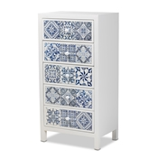 Baxton Studio Alma Spanish Mediterranean Inspired White Wood and Blue Floral Tile Style 5-Drawer Accent Chest Baxton Studio restaurant furniture, hotel furniture, commercial furniture, wholesale bedroom furniture, wholesale chest, classic chest