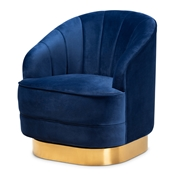 Baxton Studio Fiore Glam and Luxe Royal Blue Velvet Fabric Upholstered Brushed Gold Finished Swivel Accent Chair Baxton Studio restaurant furniture, hotel furniture, commercial furniture, wholesale living room furniture, wholesale accent chairs, classic accent chairs