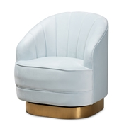 Baxton Studio Fiore Glam and Luxe Light Blue Velvet Fabric Upholstered Brushed Gold Finished Swivel Accent Chair Baxton Studio restaurant furniture, hotel furniture, commercial furniture, wholesale living room furniture, wholesale accent chairs, classic accent chairs