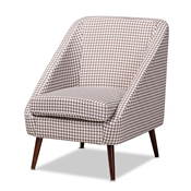 Baxton Studio Gia Modern and Contemporary Brown and White Houndstooth Accent Chair Baxton Studio restaurant furniture, hotel furniture, commercial furniture, wholesale living room furniture, wholesale accent chairs, classic accent chairs