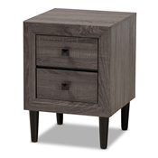 Baxton Studio Feyan Mid-Century Modern Grey Finished 2-Drawer Wood Nightstand Baxton Studio restaurant furniture, hotel furniture, commercial furniture, wholesale living room furniture, wholesale night stand, classic night stand