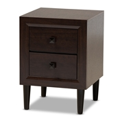 Baxton Studio Feyan Mid-Century Modern Cherry Brown Finished 2-Drawer Wood Nightstand Baxton Studio restaurant furniture, hotel furniture, commercial furniture, wholesale living room furniture, wholesale night stand, classic night stand