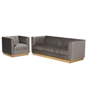 Baxton Studio Aveline Glam and Luxe Grey Velvet Fabric Upholstered Brushed Gold Finished 2-Piece Living Room Set Baxton Studio restaurant furniture, hotel furniture, commercial furniture, wholesale living room furniture, wholesale sofa sets, classic sofa sets