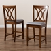 Baxton Studio Reneau Modern and Contemporary Grey Fabric Upholstered Walnut Brown Finished 2-Piece Wood Counter Height Pub Chair Set - RH316P-Grey/Walnut-PC