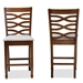 Baxton Studio Lanier Modern and Contemporary Grey Fabric Upholstered Walnut Brown Finished 2-Piece Wood Counter Height Pub Chair Set - RH318P-Grey/Walnut-PC