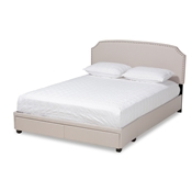 Baxton Studio Larese Beige Fabric Upholstered 2-Drawer King Size Platform Storage Bed Baxton Studio restaurant furniture, hotel furniture, commercial furniture, wholesale bedroom furniture, wholesale king, classic king