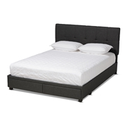Baxton Studio Netti Dark Grey Fabric Upholstered 2-Drawer King Size Platform Storage Bed Baxton Studio restaurant furniture, hotel furniture, commercial furniture, wholesale bedroom furniture, wholesale king, classic king
