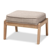 Baxton Studio Sigrid Mid-Century Modern Light Grey Fabric Upholstered Antique Oak Finished Wood Ottoman Baxton Studio restaurant furniture, hotel furniture, commercial furniture, wholesale living room furniture, wholesale ottoman, classic ottoman