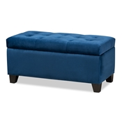 Baxton Studio Michaela Modern and Contemporary Navy Blue Velvet Fabric Upholstered Storage Ottoman Baxton Studio restaurant furniture, hotel furniture, commercial furniture, wholesale living room furniture, wholesale storage ottoman, classic storage ottoman