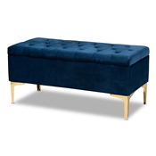 Baxton Studio Valere Glam and Luxe Navy Blue Velvet Fabric Upholstered Gold Finished Button Tufted Storage Ottoman Baxton Studio restaurant furniture, hotel furniture, commercial furniture, wholesale living room furniture, wholesale storage ottoman, classic storage ottoman