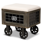 Baxton Studio Harley Transitional Rustic Farmhouse Beige Fabric Upholstered Antique Distressed Wood and Black Metal 1-Drawer Wheeled Storage Ottoman Baxton Studio restaurant furniture, hotel furniture, commercial furniture, wholesale living room furniture, wholesale storage ottoman, classic storage ottoman
