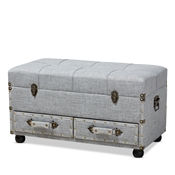 Baxton Studio Flynn Modern Transitional Grey Fabric Upholstered 2-Drawer Storage Trunk Ottoman Baxton Studio restaurant furniture, hotel furniture, commercial furniture, wholesale living room furniture, wholesale storage ottoman, classic storage ottoman