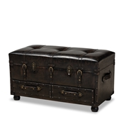 Baxton Studio Callum Modern Transitional Distressed Dark Brown Faux Leather Upholstered 2-Drawer Storage Trunk Ottoman Baxton Studio restaurant furniture, hotel furniture, commercial furniture, wholesale living room furniture, wholesale storage ottoman, classic storage ottoman