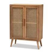 Baxton Studio Alina Mid-Century Modern Medium Oak Finished Wood and Rattan 2-Door Accent Storage Cabinet Baxton Studio restaurant furniture, hotel furniture, commercial furniture, wholesale living room furniture, wholesale storage cabinet, classic storage cabinet