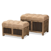 Baxton Studio Clement Rustic Transitional Farmhouse Beige Fabric Upholstered Medium Oak Finished 2-Piece Wood Spindle Storage Trunk Ottoman Set Baxton Studio restaurant furniture, hotel furniture, commercial furniture, wholesale living room furniture, wholesale storage ottomans, classic storage ottomans