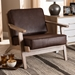 Baxton Studio Sigrid Mid-Century Modern Dark Brown Faux Leather Effect Fabric Upholstered Antique Oak Finished Wood Armchair - Sigrid-Dark Brown/Antique Oak-CC