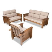 Baxton Studio Charlotte Modern Classic Mission Style Taupe Fabric Upholstered Walnut Brown Finished Wood 3-Piece Living Room Set Baxton Studio restaurant furniture, hotel furniture, commercial furniture, wholesale living room furniture, wholesale sofa sets, classic sofa sets