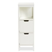 Baxton Studio Reuben Cottage and Farmhouse White Finished 2-Drawer Wood Storage Cabinet - SR1801195-White-Cabinet