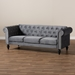 Baxton Studio Emma Traditional and Transitional Grey Velvet Fabric Upholstered and Button Tufted Chesterfield Sofa - Emma-Grey Velvet-SF
