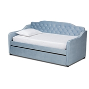 Baxton Studio Freda Traditional and Transitional Light Blue Velvet Fabric Upholstered and Button Tufted Twin Size Daybed with Trundle Baxton Studio restaurant furniture, hotel furniture, commercial furniture, wholesale bedroom furniture, wholesale twin, classic twin