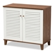 Baxton Studio Coolidge Modern and Contemporary White and Walnut Finished 4-Shelf Wood Shoe Storage Cabinet - FP-01LV-Walnut/White