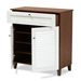 Baxton Studio Coolidge Modern and Contemporary White and Walnut Finished 4-Shelf Wood Shoe Storage Cabinet with Drawer - FP-02LV-Walnut/White