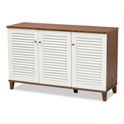 Baxton Studio Coolidge Modern and Contemporary Walnut Finished 8-Shelf Wood Shoe Storage Cabinet Baxton Studio restaurant furniture, hotel furniture, commercial furniture, wholesale entryway furniture, wholesale shoe cabinet, classic shoe cabinet
