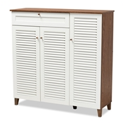 Baxton Studio Coolidge Modern and Contemporary Walnut Finished 11-Shelf Wood Shoe Storage Cabinet with Drawer Baxton Studio restaurant furniture, hotel furniture, commercial furniture, wholesale entryway furniture, wholesale shoe cabinet, classic shoe cabinet