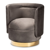 Baxton Studio Saffi Glam and Luxe Grey Velvet Fabric Upholstered Gold Finished Swivel Accent Chair Baxton Studio restaurant furniture, hotel furniture, commercial furniture, wholesale living room furniture, wholesale accent chairs, classic accent chairs