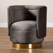 Baxton Studio Saffi Glam and Luxe Grey Velvet Fabric Upholstered Gold Finished Swivel Accent Chair - TSF-6653-Grey/Gold-CC