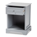 Baxton Studio Chase Modern Transitional Light Grey Finished 1-Drawer Wood Nightstand - SR161050-Light Grey-NS
