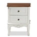Baxton Studio Darlene Classic and Traditional French White and Cherry Brown Finished Wood 2-Drawer Nightstand - JY-132054-2 DW NS