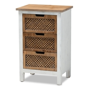Baxton Studio Vincent Rustic Farmhouse and Shabby Chic White and Oak Brown Finished 3-Drawer Wood Storage Chest Baxton Studio restaurant furniture, hotel furniture, commercial furniture, wholesale living room furniture, wholesale storage cabinet, classic storage cabinet