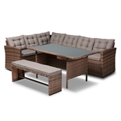 Baxton Studio Angela Modern and Contemporary Grey Fabric Upholstered and Brown Finished 4-Piece Woven Rattan Outdoor Patio Set Baxton Studio restaurant furniture, hotel furniture, commercial furniture, wholesale outdoor furniture, wholesale patio furniture