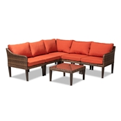 Baxton Studio Breida Modern and Contemporary Orange Fabric Upholstered and Brown Finished 6-Piece Woven Rattan Outdoor Patio Set Baxton Studio restaurant furniture, hotel furniture, commercial furniture, wholesale outdoor furniture, wholesale patio furniture