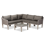 Baxton Studio Breida Modern and Contemporary Dark Grey Fabric Upholstered and Light Grey Finished 6-Piece Woven Rattan Outdoor Patio Set Baxton Studio restaurant furniture, hotel furniture, commercial furniture, wholesale outdoor furniture, wholesale patio furniture