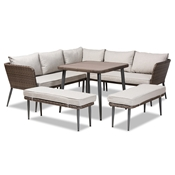Baxton Studio Lillian Modern and Contemporary Light Grey Upholstered and Brown Finished 5-Piece Woven Rattan Outdoor Patio Set Baxton Studio restaurant furniture, hotel furniture, commercial furniture, wholesale outdoor furniture, wholesale patio furniture