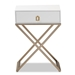 Baxton Studio Patricia Modern and Contemporary White Finished Wood and Brass-Tone Metal 1-Drawer Nightstand - JY1957-NS