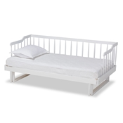 Baxton Studio Muriel Modern and Transitional White Finished Wood Expandable Twin Size to King Size Spindle Daybed Baxton Studio restaurant furniture, hotel furniture, commercial furniture, wholesale bedroom furniture, wholesale twin, classic twin
