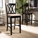 Baxton Studio Calista Modern and Contemporary Sand Fabric Upholstered and Espresso Brown Finished Wood 2-Piece Bar Stool Set - RH316B-Sand/Dark Brown-BS