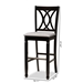 Baxton Studio Calista Modern and Contemporary Grey Fabric Upholstered and Espresso Brown Finished Wood 2-Piece Bar Stool Set - RH316B-Grey/Dark Brown-BS