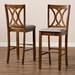 Baxton Studio Calista Modern and Contemporary Grey Fabric Upholstered and Walnut Brown Finished Wood 2-Piece Bar Stool Set - RH316B-Grey/Walnut-BS
