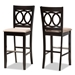 Baxton Studio Carson Modern and Contemporary Sand Fabric Upholstered and Espresso Brown Finished Wood 2-Piece Bar Stool Set - RH315B-Sand/Dark Brown-BS