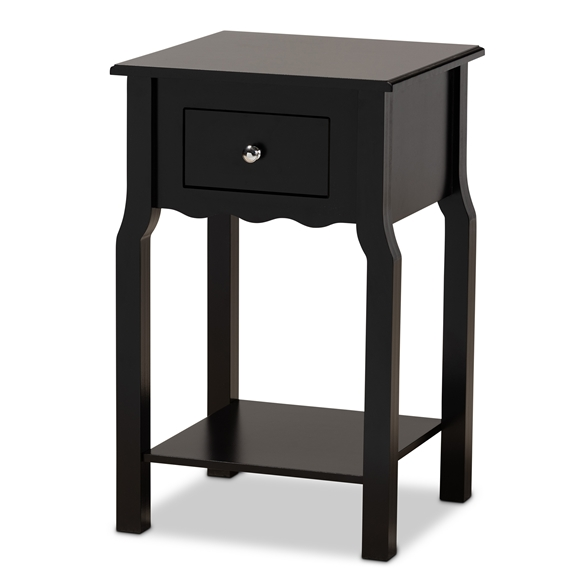 Baxton Studio Hailey Classic Traditional and Transitional Black Finished Wood 1-Drawer Nightstand